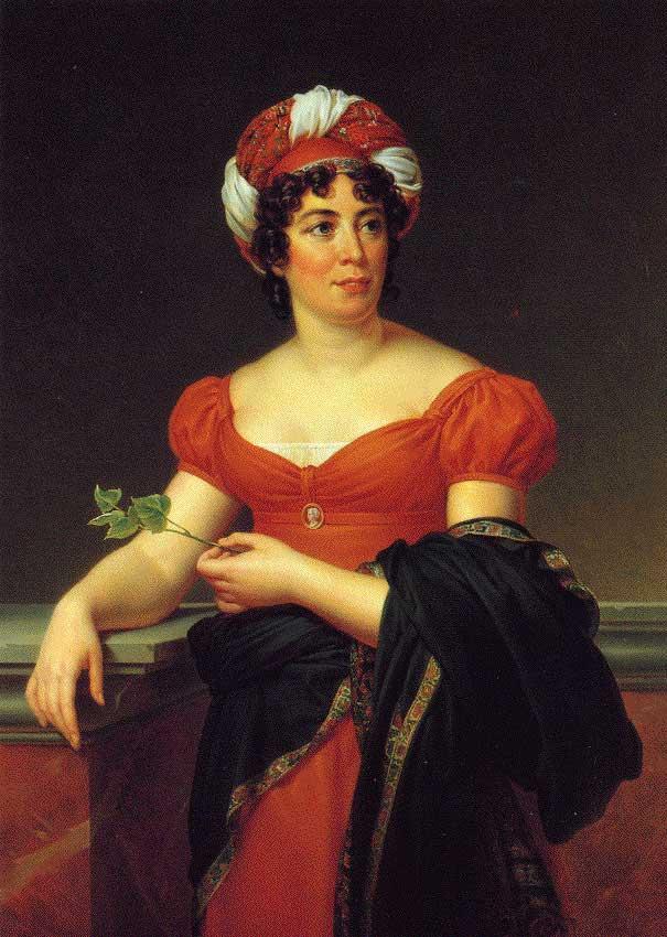 Madame de Staël, retratada por François Gérard, hacia 1810, Castillo de Coppe